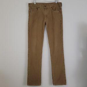 Levi's 511 Tan Corduroy Straight Leg Pants 32